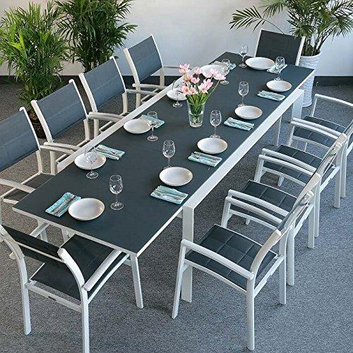 Violet Tisch mit 10 Milly Stühlen - WEIß & GRAU | großer ausziehbarer Esstisch 300cm
