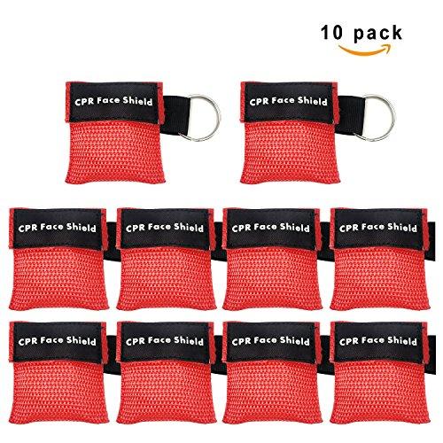 CPR Maske Schlüsselanhänger Ring Emergency Kit Rescue Face Shields mit Einweg-Ventil Atem Barriere für Erste Hilfe oder AED Training (10) (Beutel-ventil-maske)