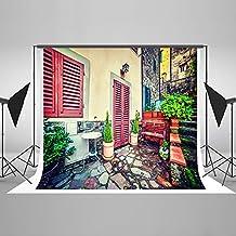 Kate 2,2 x 1,5 m fondo para estudio de fotografía Moden casa edificio fondo rojo puerta ventana silla para niños o boda Photo Studio algodón Backdrops hj05303