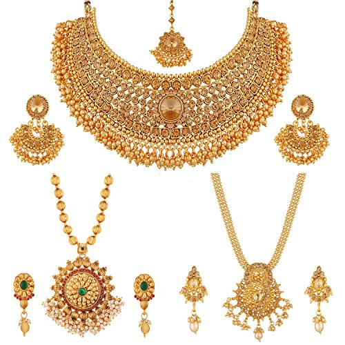 Apara Necklace and Long Mala Jewellery Combo with Pearl For Women