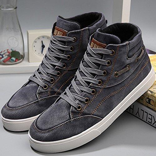 Oasap Homme Sneakers A Lacet Mode A Cheville Noir