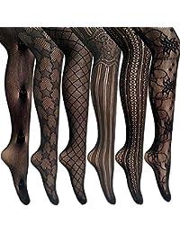 2eaaea36a9c ANDIBEIQI 6 Pairs women Sexy Pantyhose Seamless Floral Fishnet Tights Nylon Stockings  black