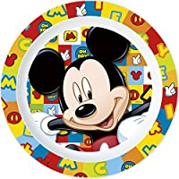 Unbranded 8020154 Assiette Plate Mickey Icons Micro Ondable Diametre 22CM-8020154, Plastique, Multi Couleurs, 22 cm