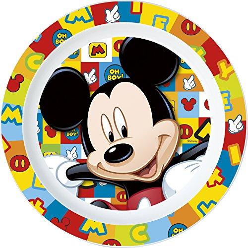 Unbranded 8020154 Assiette Plate Mickey Icons en Plastique Micro ONDABLE DIAMETRE 22CM-8020154, Multi Couleurs, 22 cm
