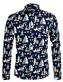 Herren Hemd Langarm Shirt Freizeit Blumenhemd Party Regular fit Hemd für Männer 1035 Schwarz XL