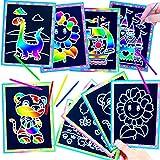 German-Trendseller ® - 24 x Kratzbilder - Regenbogen Mix Regenbogenfarben ┃ Kinder Set┃ Kindergeburtstag ┃ Kratzkunstbilder ┃ inkl. Kratzwerkzeug ┃ 24 Stück
