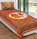 #8: RajasthaniKart Classic 144 TC Cotton Single Bedsheet with Pillow Cover - Abstract, Orange