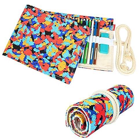 Damero Cavas Pencil Wrap of 48 Coloured Pencils, Roll Case for Pen, Travel Pencil Holder(No Pencil Included), Houndstooth