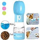 DOGLERON Dog Water Bottle, Portable Pet Water Dispenser with Food Container 2 in 1, Indoor Outdoor Dog Cat Puppy Travel Water
