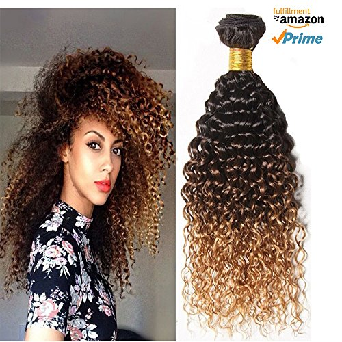 Morningsilkwig 1 Bundle Grade 6A Tissage Naturels-Chocolat-Blonde Boucles Crepus Bresilien Cheveux 12 Pouces Vierges Kinky Curly Cheveux Humains Weave 50 gramme p. bundle