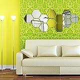 NectaRoy 3D Hexagone Miroir Stickers Muraux Décoration de Maison Miroir Autocollant Mur Decal Décoration (Argent)...
