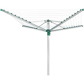 Leifheit Wäscheschirm Linomatic 500 Comfort mit Leineneinzug, Wäschespinne mit Easy-Lift-System, klappbarer Wäscheständer mit 50 Meter Leine