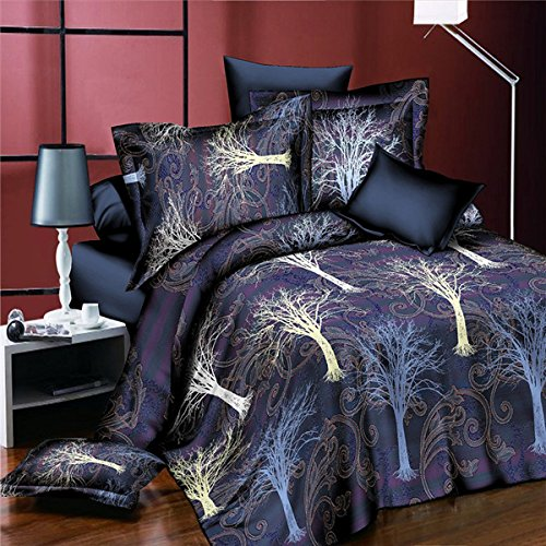 Yongse 4pcs Suit 3D The Tree Of Life reattiva tintura fibra di poliestere letto di Regina King Size
