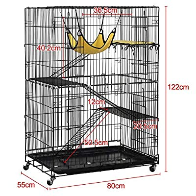 Popamazing 4-Tier Foldable Cat Home Cages Playpen Wire Pet Crate House with 3 Ramp Ladders&4 Casters 80 x 55 x 122 cm (LxWxH) by Yaheetech