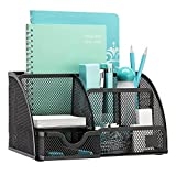 #6: PINZO™ 7 Compartment Metal Mesh Desk Organizer with Drawer