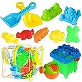 BRAMBLE! Set di giocattoli da spiaggia da 13 pezzi - Ideale per passare un giorno in spiaggia - Include borsa in rete e robusta borsa in PVC
