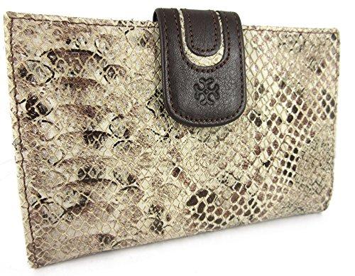 Echt Leder, Handgefertigt in Spanien. Luxury Damen Geldbörse Portemonnaie Geldbeutel, Braun mit Krokodil Effekt - Im Geschenkbox -