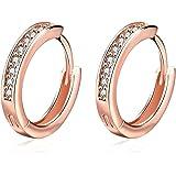Orecchini da Donna, orecchini a bottone a cerchio piccolo rosa con zirconi cubici Regali di diamanti simulati per Donna-gioie