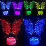 Luces led 3D nocturnas de ilusión de mariposas y flores, plástico, Butterfly No battery, loop-top 5.00volts