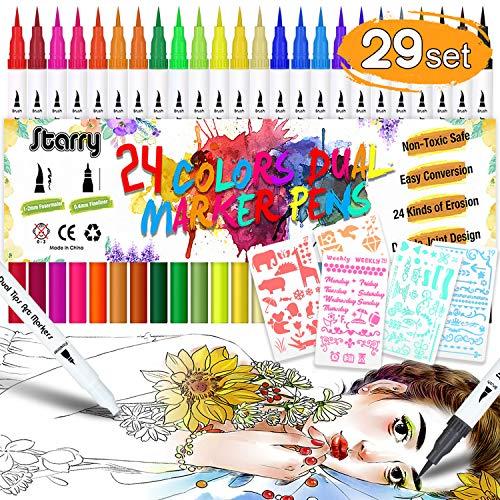 DYFFLE Dual Brush Pen Set - 24 Farben+5 Schablonen, Bullet Journal Zubehör Stifte, Pinselstifte, Filzstifte, Malstifte, Kombimaler, Watercolor Effekte Aquarellpinsel für Manga, Kalligraphie -
