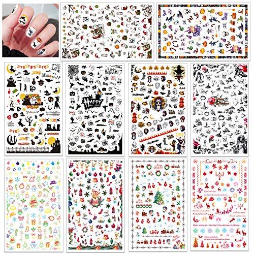 konsait 1100 + pezzi natale e halloween adesivi unghie 3d nail stickers adesivi cranio zucca, babbo natale renna decalcomanie decorazione unghie fai da te attrezzatura arte unghie autoadesivi