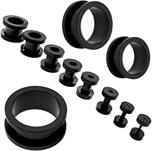 XXL Set Flesh Tunnel estensore plug e taper set dilatatore spirale Piercing 1,6-16mm