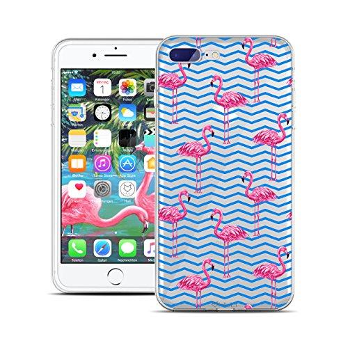 HULI Design Case Hülle für Apple iPhone 7 Plus Handy im Flamingo Design - Handyhülle aus TPU Silikon - Schutzhülle klar mit Animal Tier Muster - Transparent und Slim für Dein Smartphone