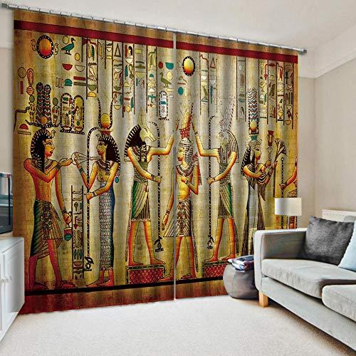 gs Gardinen Blickdicht Schlafzimmer Vorhang 3D Print Alte Ägyptische Königin Hochpräzise Schwarze Seide 215X320Cm ()
