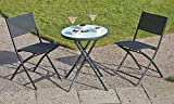 Outdoor Attractive Painted Metal Steel Garden Bistro Set with LED Light-up Table Top. Two chairs and a Table