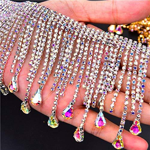 PENVEAT Bling 50cm / Los Strass Tanz Gold AB Kristallkette Quasten Vorhang Dekoration auf Kleidungsstück Strass Banding Halskette Trim, Silber mit AB Farbe nähen, 50cm -