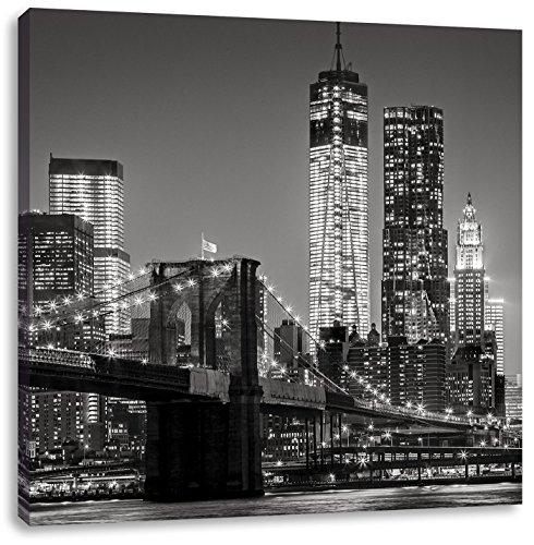 New York City Skyline bei Nacht, Format: 60x60 auf Leinwand, XXL riesige Bilder fertig gerahmt mit Keilrahmen, Kunstdruck auf Wandbild mit Rahmen, günstiger als Gemälde oder Ölbild, kein Poster oder Plakat