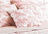 Paoletti Canterbury Tales Toile De Jouy Cushion Cover, White/Pink, 45 x 45 Cm