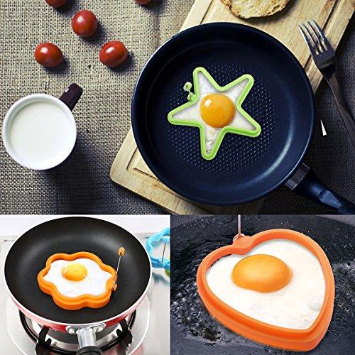 * Facetoworld 4 Pezzi Silicone Stampi per Uova Fritte, Cottura Uova, Pancake e Omelette, Stampi Pancake, Stampi Antiaderenti, Cuore, Stella, Cerchio, Fiore prezzo