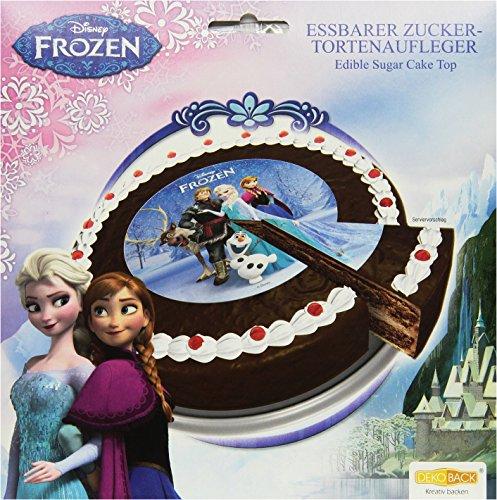 Decocino Zucker-Tortenaufleger Disney Frozen HOCHWERTIGER Tortenaufleger Eiskönigin von DEKOBACK | Tortenaufleger Elsa | 1er Pack (1 x 13 g) | Durchmesser: 16 cm (Für Kuchen Disney-figuren)