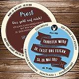 Echte Bierdeckel als Einladung zum Geburtstag (50 Stück) Retro blau, braun einladungskarte als Biermarke, Brauerei mit Label, Striche, individuelle Bierdeckel-Einladungskarte …