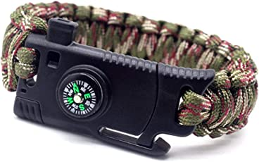 AanYuAan-L Überlebens-Armband-Messer Im Freien 5-In-Einem Multifunktionsrettungs-Überlebens-Selbstverteidigungs-Blatt-Taktisches Armband Angriffs-Regenschirm-Seil, Armee-Grün-Tarnung