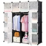 MCTECH étagère Armoire penderie - Armoire système d'étagère Stand étagère DIY (16 boîtes, Noir)