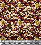 Soimoi Lila Kreppseide Stoff Tropische Blätter & Kokos