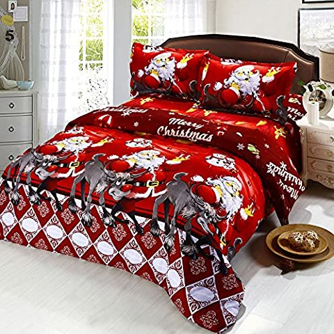 Anself 4ps 3D Stampato Cartoon Natale Biancheria da Letto Set