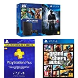 PlayStation 4 Slim (PS4) 1TB - Consola + Uncharted Collection + Uncharted 4 + GTA V + PSN Plus Tarjeta 90 Días