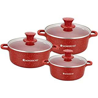 Wonderchef Granite Die Cast Casserole 6 Pcs Set  Red