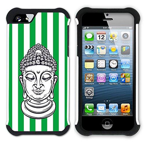 Graphic4You Buddha-Kopf Streifenmuster (Wasserblau) Hart + Weiche Kratzfeste Hülle Case Schale Tasche Schutzhülle für Apple iPhone SE / 5 / 5S Grün