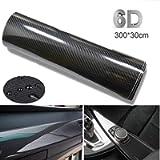 BangShou Carbon Fiber Vinyl Wrap Roll, DIY Decal Sheet with Air Release (6D Black)