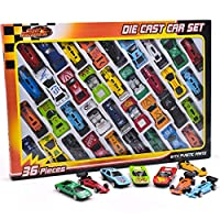 36 Piece Die Cast Metal Toy Cars - Diecast Mini Racing Cars, Convertibles, F1 Cars and Model Cars