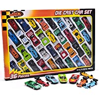 KandyToys Die Cast Metal Toy Cars – Diecast Mini Racing Cars, Convertibles, F1 Cars and Model Cars… (36 Piece)
