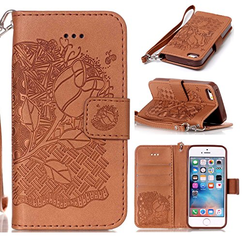 JIALUN-étui pour téléphone Nouveau style Pressé Embossing Flowers Windchime Pattern Retro Folio Flip Stand Portefeuille Case avec dragonne pour IPhone 5S SE ( Color : 4 , Size : IPhone 5S SE ) 7