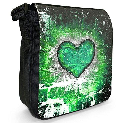 Cuore su muro di mattoni-Borsa a spalla piccola di tela, colore: nero, taglia: S Green Grunge Heart