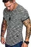 Amaci&Sons Oversize Vintage Herren Biker-Style Shirt Sweatshirt Crew-Neck 6029 Schwarz M