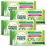 Maison Verte - Lingettes Nettoyantes Multi-Usages 0% 70 Pièces - Lingettes biodégradables - Hypoallergénique -  Sans Allergènes - Sans Additifs - Fibre de Cellulose 100% d'Origine Naturelle - Lot de 4...