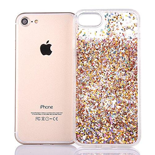 """Hülle für iPhone 6sPlus, Ultra Hybrid Klarkristall CLTPY iPhone 6Plus Shining Glitter Quicksand Schwimmenden Flüssigen Fall, TPU & PC Plastik Handytasche für 5.5"""" Apple iPhone 6Plus/6sPlus (Nicht iPho Gold"""
